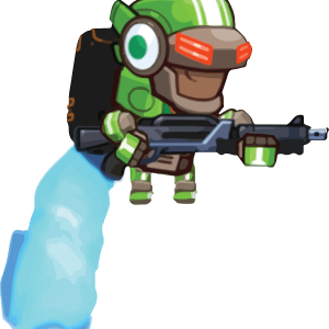 Battle Mech Knight Green Good Guy Flying